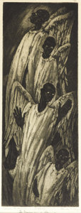 Paintings, BLANCHE MCVEIGH (1895-1970). Gwine to Heaven, 1945. Etching aquatint. 15in. x 7in.. Signed lower right. Titled lower lef...
