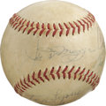 Autographs:Baseballs, Baseball Stars Multi-Signed Baseball. Exceptional group of five individuals who earned their bread on the baseball diamond ...