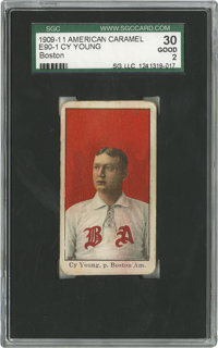 1909-11 E90-1 American Caramel Cy Young Boston SGC Good 30. One of the more desirable Hall of Fame cards from the Americ...
