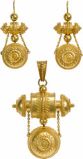 Estate Jewelry:Lots, Victorian Etruscan Revival Gold Jewelry Suite. The suite includes:one pair of earrings together with a matching convertib...