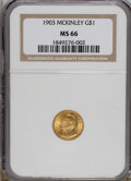 Commemorative Gold: , 1903 G$1 Louisiana Purchase/McKinley MS66 NGC. NGC Census:(325/85). PCGS Population (425/74). Mintage: 17,500. Numismedia ...