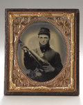 Photography:Ambrotypes, Cased Sixth Plate Ambrotype of Double-Armed Union Volunteer....
