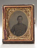 Photography:Tintypes, Cased Ninth Plate Tintype of Confederate Infantryman....