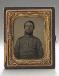 Photography:Ambrotypes, Cased Ninth Plate Ambrotype of Confederate Soldier....