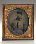 Photography:Ambrotypes, Cased Sixth Plate Ambrotype of Early War Confederate Officer....
