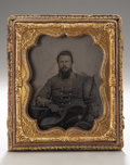 Photography:Ambrotypes, Cased Sixth Plate Ambrotype of Confederate Captain From South Carolina....