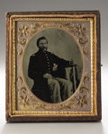 Photography:Tintypes, Cased Sixth Plate Tintype of Identified Massachusetts Officer....