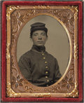 Photography:Ambrotypes, Cased Ninth Plate Ruby Ambrotype of Union Soldier....