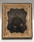 Photography:Tintypes, Cased Sixth Plate Tintype of Union Signal Corpsman....