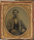 Photography:Ambrotypes, Cased Sixth Plate Ambrotype of Confederate Soldier or Officer....
