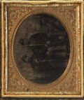 Photography:Tintypes, Cased Sixth Plate Tintype of Identified Massachusetts SergeantMajor With Friend....