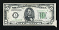 Error Notes:Attached Tabs, Fr. 1958-L $5 1934B Federal Reserve Note. About Uncirculated.. ...