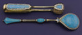 Silver Flatware, Continental:Flatware, A RUSSIAN SILVER GILT AND CLOISONNÉ ENAMEL SUGAR TONG.Gustav Gustavovich Klingert, Moscow, Russia, circa 1890. ...