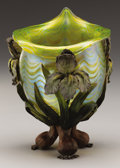 Art Glass:Loetz, AN AUSTRIAN BRONZE MOUNTED ART GLASS VASE. Loetz, Austria, Circa1900. 9-1/4 inches (23.5 cm) high. ...