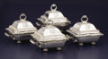 Silver Holloware, British:Holloware, A SET OF FOUR REGENCY SILVER AND SILVER PLATE COVERED ENTREESERVERS WITH STANDS. Thomas Robbins, London, England and T & J... (Total: 4 Items)