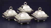A SET OF FOUR REGENCY SILVER AND SILVER PLATE COVERED ENTREE SERVERS WITH STANDS Thomas Robbins, London, England a