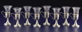 Silver Holloware, American:Cups, A SET OF EIGHT AMERICAN SILVER AND GLASS COFFEE CUPS. Dominick& Haff, New York, New York, circa 1900. Marks:(diamond-circl... (Total: 8 Items)