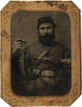 Photography:Tintypes, Two Quarter Plate Tintypes of Identified 5th Michigan CavalryTrooper.... (Total: 4 Items)