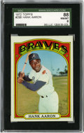 Baseball Cards:Singles (1970-Now), 1972 Topps Hank Aaron #299 SGC NM-MT 88. Hammerin' Hank poses with one of his weapons of choice for his #299 entry from the...