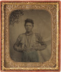 Photography:Tintypes, Cased Sixth Plate Tintype of Union Soldier Armed with Attitude....