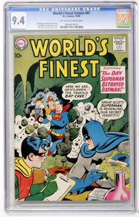 World's Finest Comics #97 (DC, 1958) CGC NM 9.4 Off-white to white pages