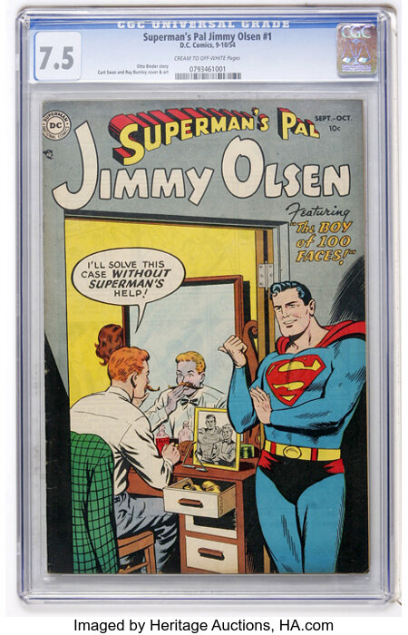 Superman's Pal Jimmy Olsen #1 (DC, 1954) CGC VF- 7.5 Cream to off-white pages....