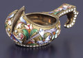 Silver Holloware, Continental:Holloware, A RUSSIAN SILVER GILT AND CLOISONNÉ ENAMEL KOVSH.Konstantin Illarionovich Skvortsov, Moscow, Russia...