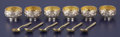 Silver Holloware, Continental:Holloware, A SET OF SIX CASED RUSSIAN SILVER AND SILVER GILT SALTS AND SPOONS.Unidentified maker, St. Petersburg, Russia, circa 1888. ...