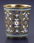 Silver Holloware, Continental:Holloware, A RUSSIAN SILVER GILT AND CLOISONNÉ ENAMEL BEAKER. PavelAkimov Ovchinnikov, Moscow, Russia, circa 1908-1917. Ma...