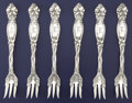 Silver Flatware, American:International, A SET OF SIX AMERICAN SILVER SHORT HANDLED OYSTER FORKS.International Silver Co., Meriden, Connecticut, circa 1903. Marks:... (Total: 7 Items)