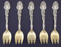 Silver Flatware, American:Gorham, A SET OF FIVE AMERICAN SILVER AND SILVER GILT ICE CREAM FORKS.Gorham Manufacturing Co., Providence, Rhode Island, circa 188...(Total: 5 Items)