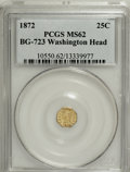 California Fractional Gold: , 1872 25C Washington Octagonal 25 Cents, BG-723, Low R.6, MS62 PCGS.PCGS Population (5/7). NGC Census: (1/0). (#10550)...