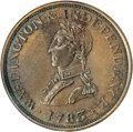 Colonials, 1783 1C Washington & Independence Cent, Small Military Bust, Plain Edge MS62 Brown NGC....