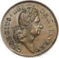 Colonials, 1722 1/2P Hibernia Halfpenny, Type Two, Harp Right MS62 BrownPCGS....