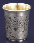 Silver Holloware, Continental:Holloware, A RUSSIAN SILVER GILT AND NIELLO BEAKER. Unidentified maker,Moscow, Russia, 1856. Marks: 1856, 84, (Moscow), IA(in...