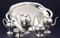 Silver & Vertu:Hollowware, AN AMERICAN ARTS & CRAFTS SILVER FIVE-PIECE COFFEE AND TEA SERVICE WITH TRAY. Lebolt & Co., Chicago, Illinois, circa 1915. M... (Total: 6 Items)
