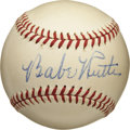 Autographs:Baseballs, Circa 1947 Babe Ruth Single Signed Baseball, PSA NM-MT+ 8.5. Absolutely stunning single from the Sultan of Swat dates to th...