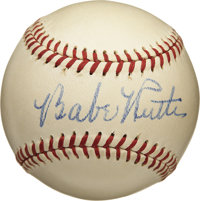 Circa 1947 Babe Ruth Single Signed Baseball, PSA NM-MT+ 8.5. Absolutely stunning single from the Sultan of Swat dates to...