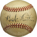 Autographs:Baseballs, 1947 Babe Ruth Single Signed Baseball, PSA EX 5. This Official American League (Harridge) ball has found its way home again...