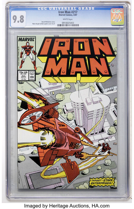 Iron Man #217 (Marvel, 1987) CGC NM/MT 9.8 White pages....