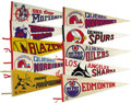 """Hockey Collectibles:Others, 1970s World Hockey Association Pennants Lot of 27. Near complete collection of 30"""" felt pennants chronicles the short life ..."""