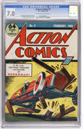 Golden Age (1938-1955):Superhero, Action Comics #9 (DC, 1939) CGC FN/VF 7.0 Off-white to white pages....