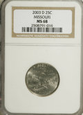 Statehood Quarters: , 2003-D 25C Missouri MS68 NGC. NGC Census: (18/0). PCGS Population (48/0). (#14021)...