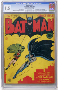 Batman #1 (DC, 1940) CGC FR/GD 1.5 Cream to off-white pages