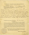 Autographs:U.S. Presidents, Partly Printed Document Signed by John Quincy Adams as Secretary of State. Two pages including integral blank, 4to, Washingt...