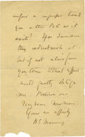 Autographs:Celebrities, Autograph Letter Signed by Cardinal Henry Edward Manning. One page, two sided, 8vo, location illegible, October 18, 1840. ...