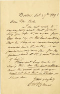 Autographs:Statesmen, Autograph Letter Signed by Oliver Wendell Holmes as Chief Justiceof the Supreme Judicial Court of Massachusetts. Two pages ...