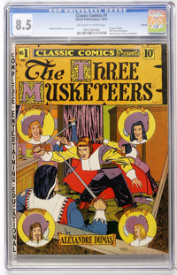 Classic Comics #1 The Three Musketeers - Denver pedigree (Elliott, 1941) CGC VF+ 8.5 Off-white to white pages