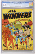 Golden Age (1938-1955):Superhero, All Winners Comics #1 (Timely, 1941) CGC VF- 7.5 Cream to off-whitepages....