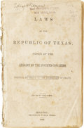 Books, Laws of the Republic of Texas, Passed at the Session of theFourth Congress. Printed by Order of the Secretary of State. In...